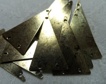 "Bright vintage gold plate brass triangles,1&3/8th"",10pcs-KC494"