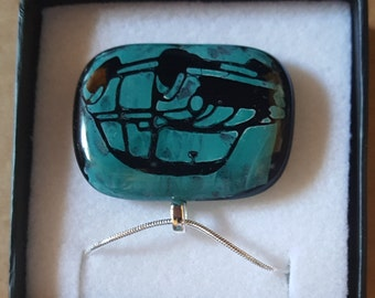 Blue Mini Painted Fused Glass Pendant/Necklace