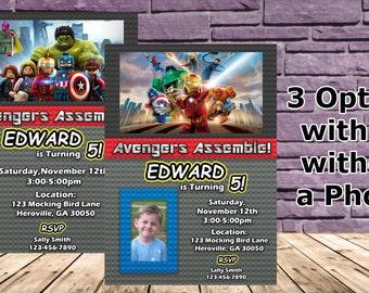 Lego Avengers Birthday Party Invitation - 3 Options!!