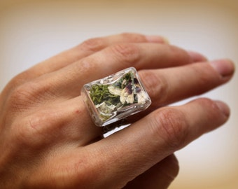 Woodland ring, natural ring, terrarium ring, flower ring, diorama ring, statement ring, nature ring, countryside ring, unique ring