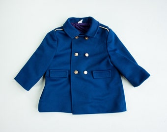 Vintage 60's Navy Sailor Double Breasted Pea Coat / Shoulder Epaulettes / Long Sleeves / 18 months