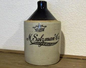 Vintage M. Salzman Whiskey Jug, 1/2 Gallon