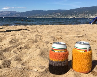 can cozy. drink cozy. beer toque. set of two.
