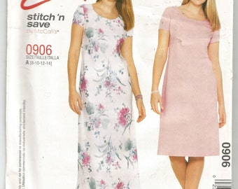 UNCUT 0906 McCalls Sewing Pattern Short Sleeve Bias Dress Choice Length Size 8 10 12 14 Factory Folded