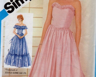 6386 Simplicity Sewing Pattern Boned Bodice Gown Formal Dress Size 12 Vintage 1980s Southern Belle Evening