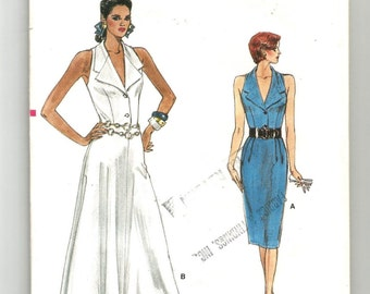 UNCUT 9863 Vogue Sewing Pattern Close Fitting Dress Straight or Flared Skirt Size 12 14 16 Vintage 1980s