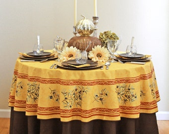 70 Inch Round Coated Tablecloth Provence Lavender In Grey