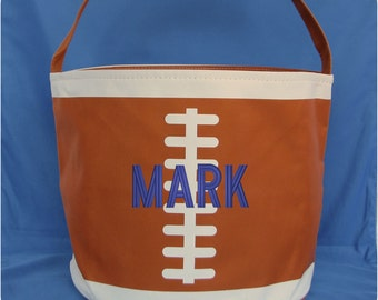 Personalized Football Bucket - Monogrammed Football Bucket - Kids Football Toy Bag - Baby Football Bucket - Football Bag - Football Tote