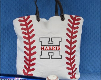 Monogrammed Baseball Tote Bag - Baseball Mom Bag - Baseball Mom Tote - Baseball Monogram - Baseball Gift - Christmas Baseball Gift