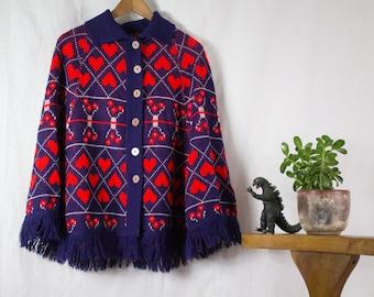 Knit Heart Cape aka Poncho