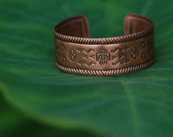 Copper Cuff with Native American Imagery