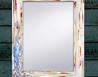 """Hand Painted Octopus Mirror, Beach Mirror, Beach Decor, Beach House Art 22x28"""""""