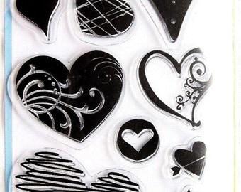Hearts Clear Acrylic Heart Stamp Set by Inkadinkado 97637 NEW!