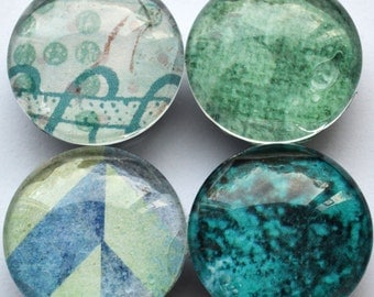 Set of Four Turquoise and Seafoam Magnets (Super strong)