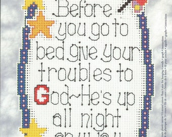 """Before You Go to Bed, Give Your Troubles to God - He's Up All Night Anyway - Janlynn Cross Stitch Kit / 14 Count Plastic Canvas / 4.25"""" x 6"""""""