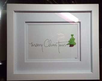 Merry Christmas - an original design with hand lettering, sea glass Christmas tree with a sea glass heart