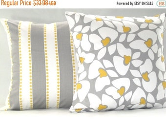 CLEARANCE SALE Pillow Cover, Pillows, Yellow Pillow, Grey Pillow, Decorative Pillow, Decorative Throw Pillows, Yellow And Grey Pillows