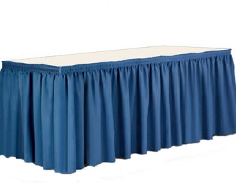 "14' x 29""-Blue Linen Like Soft Table Skirt Non Woven-Polyester/Nylon Blend 1 pc"