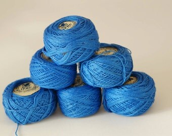 Vintage crochet thread Unused vintage crochet thread USSR Iris crochet thread Blue crochet thread