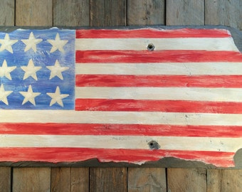 US Americana, Rustic Primitive American Flag Hand-Painted on a Vintage Slate Roof Shingle, Stars and Stripes Patriotic Art on Stone Shingle
