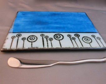 Painted Flowers - Fused Glass Cheese Plate