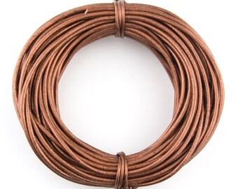 Copper Metallic Round Leather Cord 2mm 25 meters (27.34 yards)