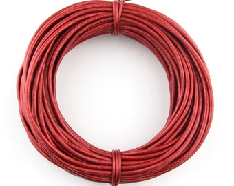 Red Metallic Round Leather Cord 2mm, 25 meters (27.34 yards)