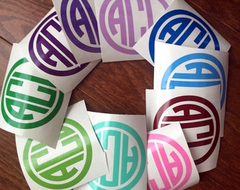 "FLASH SALE 3"" CIRCLe monogram vinyl decal monogram girly monogram preppy monogram discount monogram"