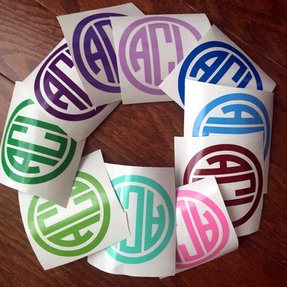 "FLASH SALE 3"" CIRCLe monogram vinyl decal monogram girly monogram preppy monogram discount monogram"