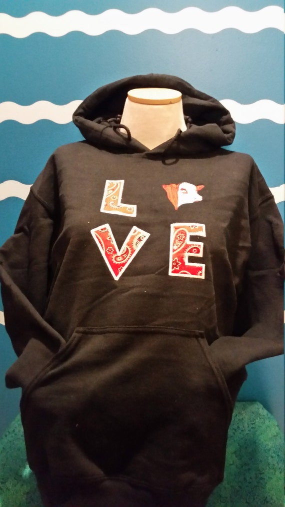 Hoodie Hereford Sweatshirt - Love Herefords - custom color Hereford sweatshirt - hereford hooded sweatshrit - Hereford Embroidery sweatshirt