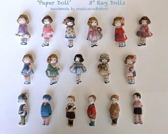 """Dollhouse Rag Doll, 3"""" Rag Doll, Hand Sewn Doll, 'Paper Dolls', Vintage Style"""