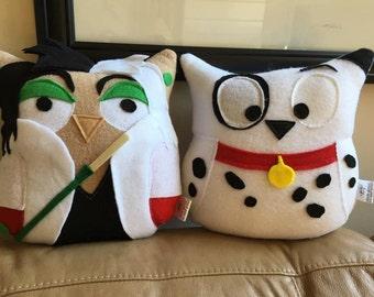 Plush Owl Set- Cru-owlla Deville and Plush Dalmatian- Inspired by 101 Dalmatians- 2 plush owls