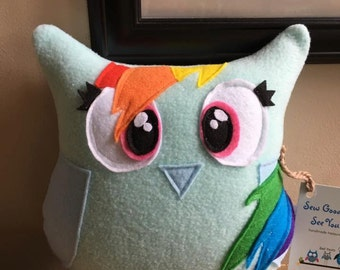 Rain-Owl Dash Owl Plushie- Inspired by Rainbow Dash and My Little Pony- Plush Rainbow Dash Owl- Blue