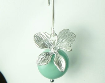 Jade Pearl and Silver Orchid Earrings, flower dangle earrings, matte silver earrings, turquoise bridesmaid gift, JADE PEARL ORCHID Earrings