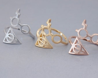 Harry Potter Ring. Hallows Ring. adjustable ring. choose your color gold ,rose gold and silver. no67