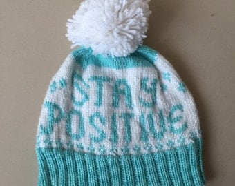 Handknit Stay Positive Hat