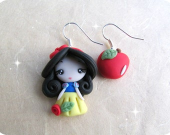 Snow White Polymer Clay handmade Earrings