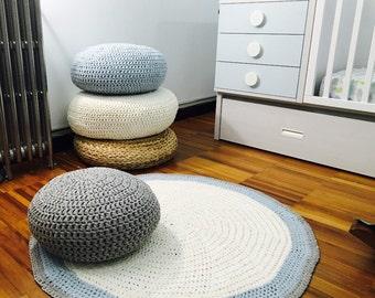 Crochet Floor Cushion-Nursery Decor-Kids Floor Pillow-Stuffed Pouf-Meditation Round Cushion-Chunky Knit Floor Pillow-Nursery Furniture