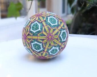 Handmade Temari Ball (Yellow-Lilac-Green-White)