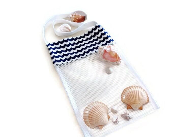 Shell Collecting Bag, Mesh Shell Bag, Kids Shell Tote, Navy Blue, Kids Sand Beach Toy Bag, Seashell Bag, Gift for Boys and Girls