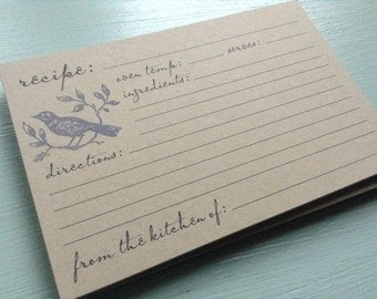 vintage inspired flat recipe cards, bird and leaves, set of 12, 4x6