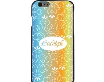 Hard Snap-On Case for Apple 5 5S SE 6 6S 7 Plus - CUSTOM Monogram - Any Colors - Blue Orange Yellow Pink Floral Name