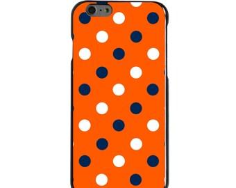 Hard Snap-On Case for Apple 5 5S SE 6 6S 7 Plus - CUSTOM Monogram - Any Colors - Syracuse SU Orange Colors - Polka Dots Pattern
