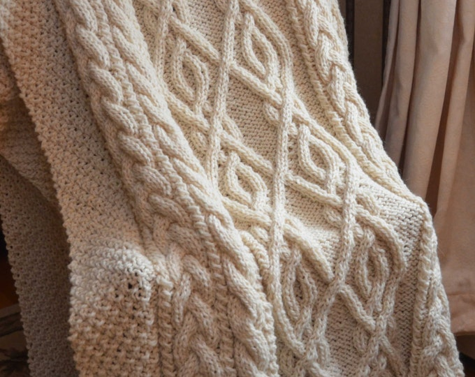 Extra-Large Irish Fisherman-Inspired Hand Knit Throw Blanket - MADE TO ORDER