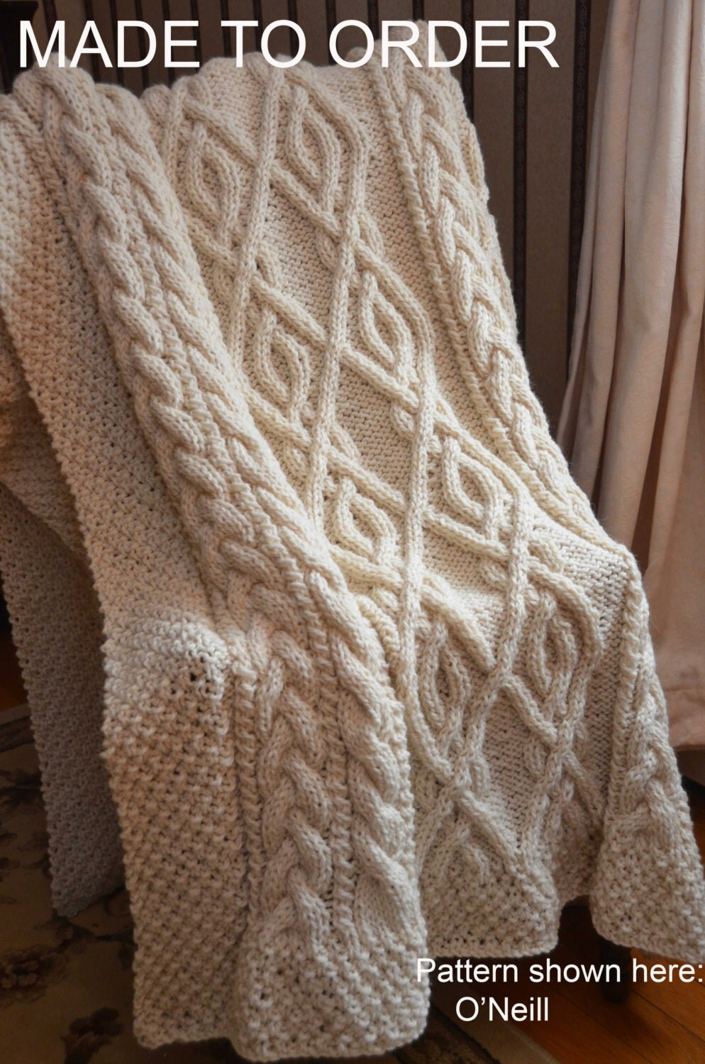 Extra Large Irish Fisherman Inspired Hand Knit Throw Blanket