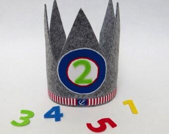 Birthday Crown Crown children blue gray anchor crown birthday children