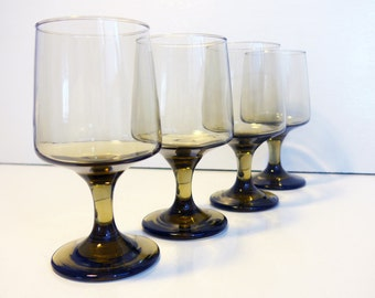 Set of 4 Libbey Tawny Glasses or Goblets - Tawny Accent Water Glasses - Vintage Libbey Rock Sharpe Glasses - Light Brown Glasses