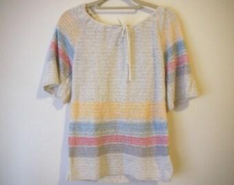 VINTAGE 1970's Striped Blouse