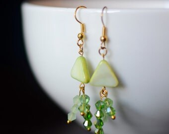Swarovski Crystal and Green Shell Earrings