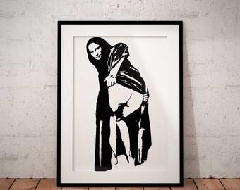 Mona Lisa poster print, Graffti Art, Stencil Art by Banksy home  wall decor poster print